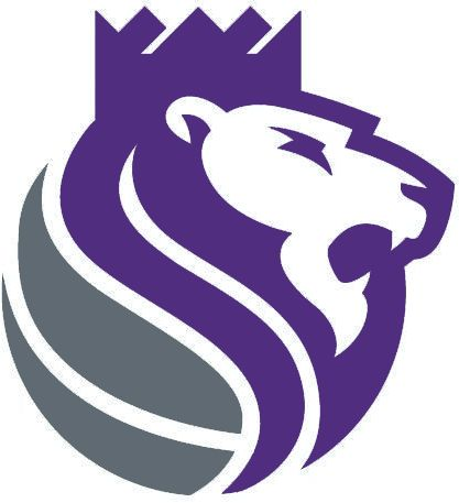 Sacramento Kings Alternate Logo (2017) - A purple and silver lion wearing a crown, roaring
