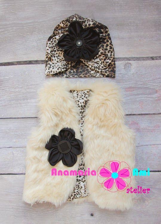 set vestuta blanita bej leopard turban AnamariaAmi