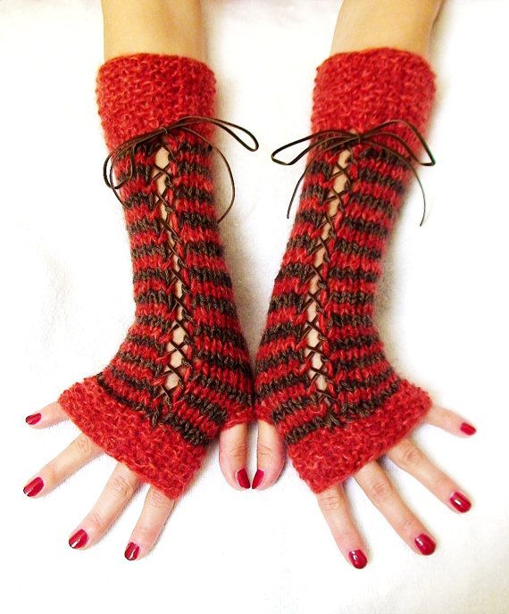 Fingerless Gloves Knitted  Striped Woolen Corset by LaimaShop, $39.00