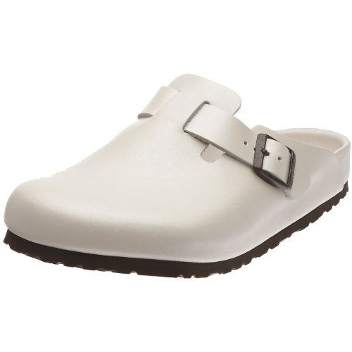 Birkenstock Clogs ''Boston'' from Leather in Pearl White Metallic with a regular insole Birkenstock. $113.87. leather