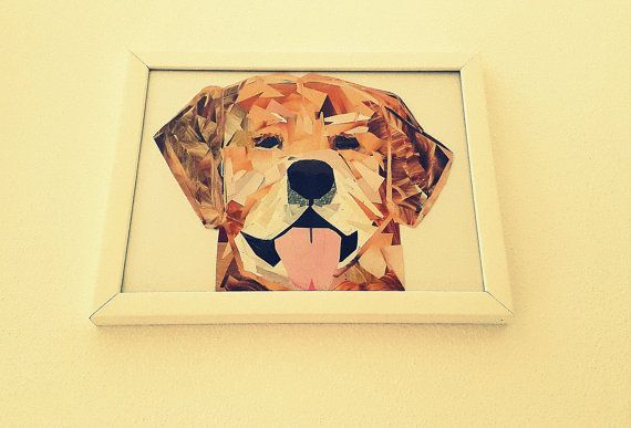 Golden Retriever Portrait Mosaic from Pieces of by PinkBau on Etsy