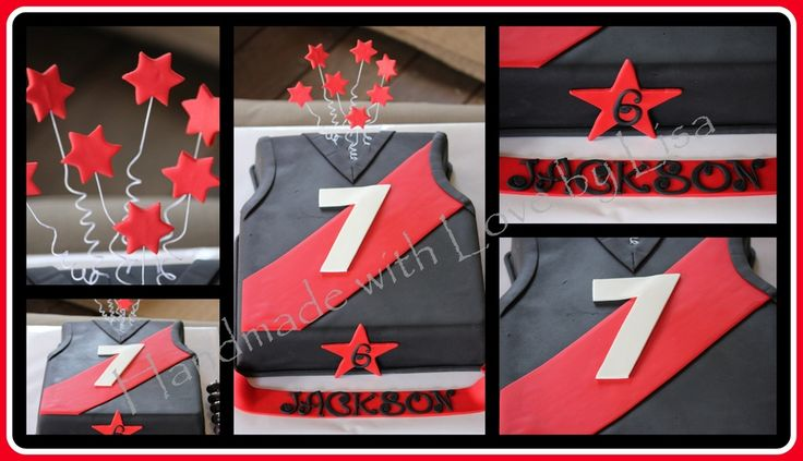 This is a rich chocolate cake decorated as a Essendon Football Jumper. The cake was for a 6th birthday, and his favorite player was No.7.