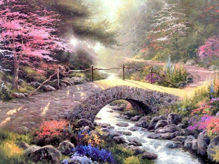 Wallpaper Spring Garden Gate Bridge Thomas Kinkade