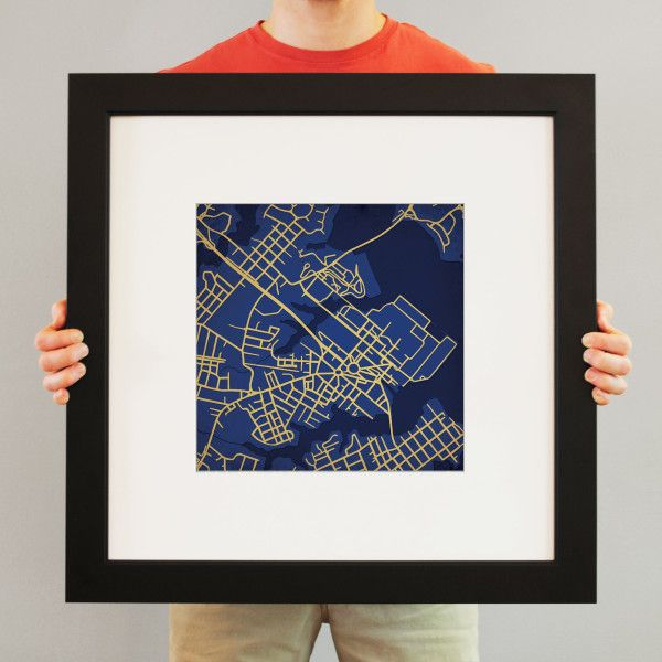 United States Naval Academy Campus Map Art | Display pride for your alma mater with our campus prints – university maps in your school colors showing the roads where you spent the best years of your life. But it's not really about the map, it's about the stories that the map brings out!