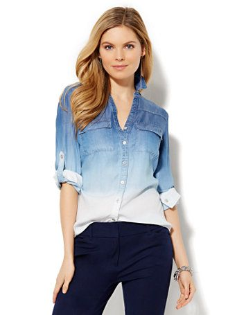 Shop Soho Soft Shirt - Dip-Dye Ombré Wash. Find your perfect size online at the best price at New York & Company.
