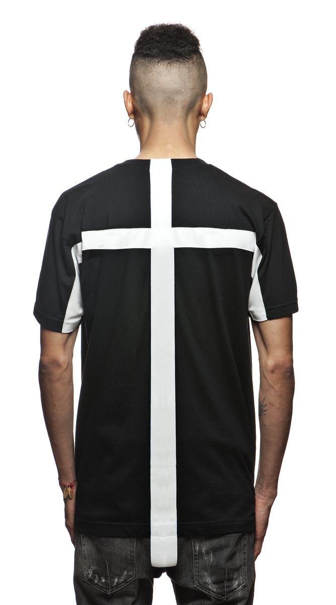 Black t shirt white cross on back - Blackboyplace T Shirt Black Believe In God