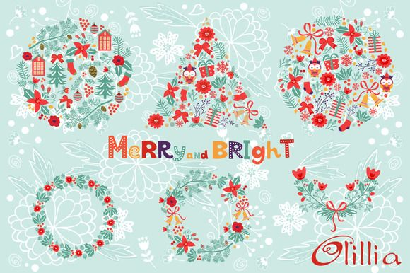 Merry and bright by Olillia on Creative Market