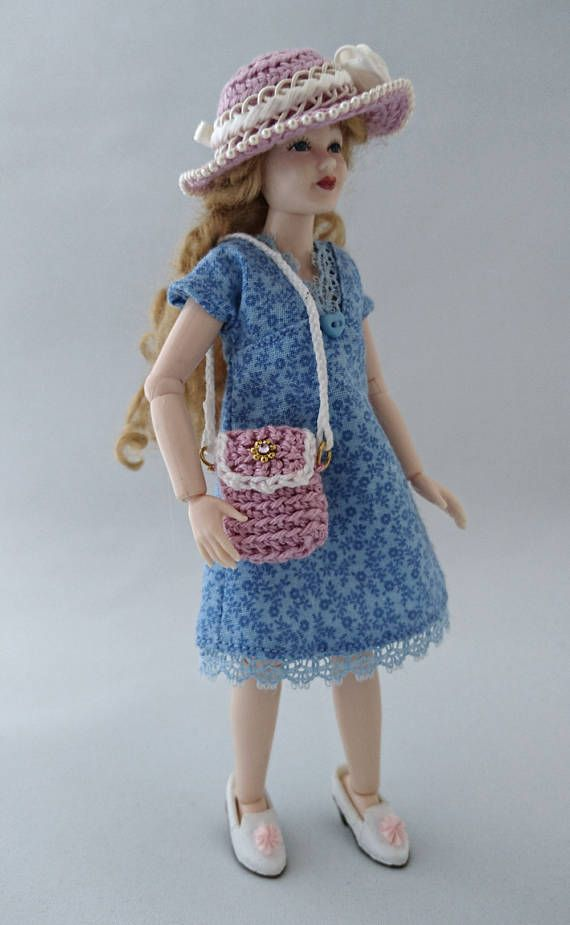 Wearable dollhouse dress hat and bag for 1/12 Heidi Ott