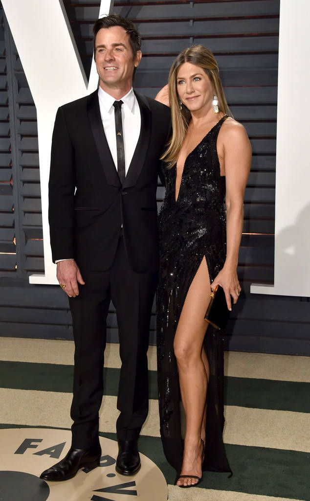 Jennifer Aniston & Justin Theroux from 2017 Vanity Fair Oscars After-Party  The married pair was the epitome of chic in a black sequin gown and coordinating black tuxedo.