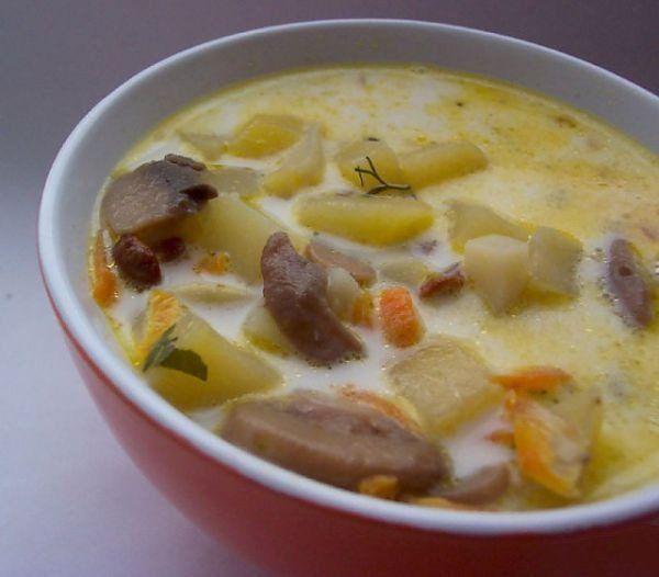 Сырный суп со свининой
