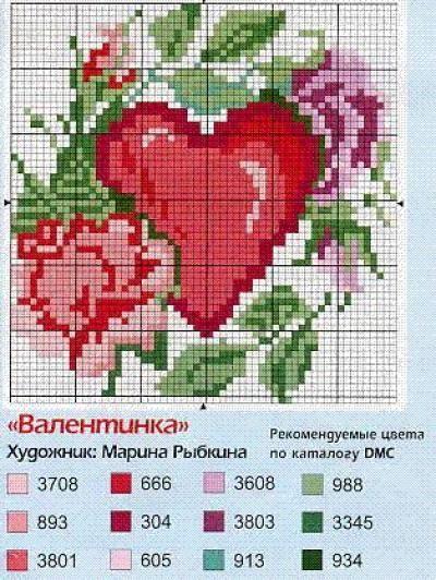 Schema punto croce Cuore-rose