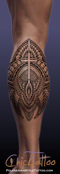 Polynesian Style Tattoo Cross Calf Design available for sale.