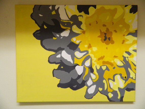 Yellow and gray flower painting bathroom pinterest for Yellow and gray paint