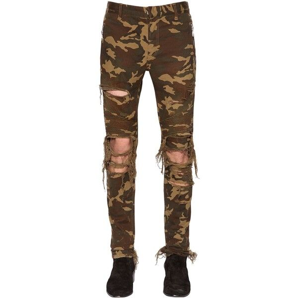Balmain Men 15cm Destroyed Camouflage Jeans ($1,150) ❤ liked on Polyvore featuring men's fashion, men's clothing, men's jeans, army green, mens destroyed jeans, mens jeans, mens camo jeans, mens olive green jeans and balmain men's jeans