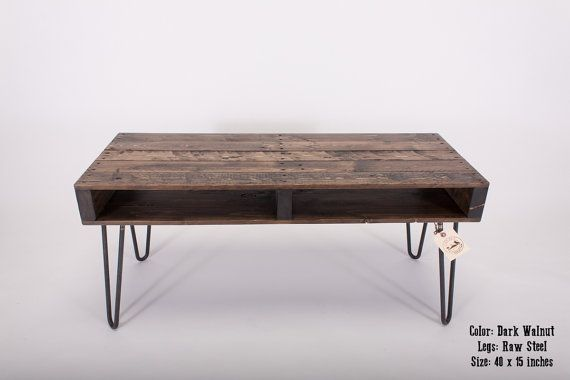Reclaimed Pallet Wood TV Stand / Media Stand with Hairpin Legs, Slim Coffee Table on Etsy, $330.56