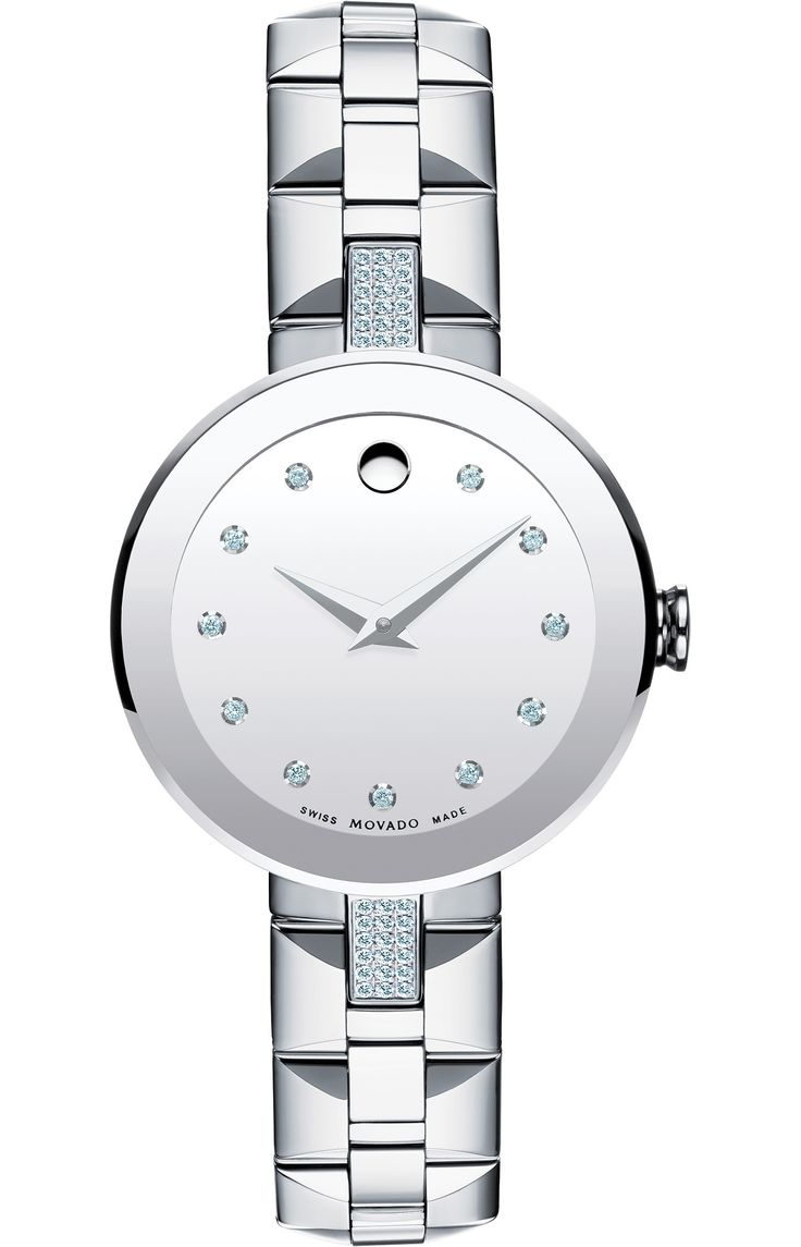 Sapphire Sapphire - Women's Sapphire watch, 28.0 mm stainless steel bezel-free case with flat edge-to-edge sapphire crystal and 36 north/south diamond accents, round silver mirror dial with 11 diamond markers, silver-toned signature dot and hands, (0.183 t.c.w. diamonds), stainless steel pyramid-shaped link bracelet with butterfly deployment clasp, Swiss quartz movement, water resistant to 30 meters.