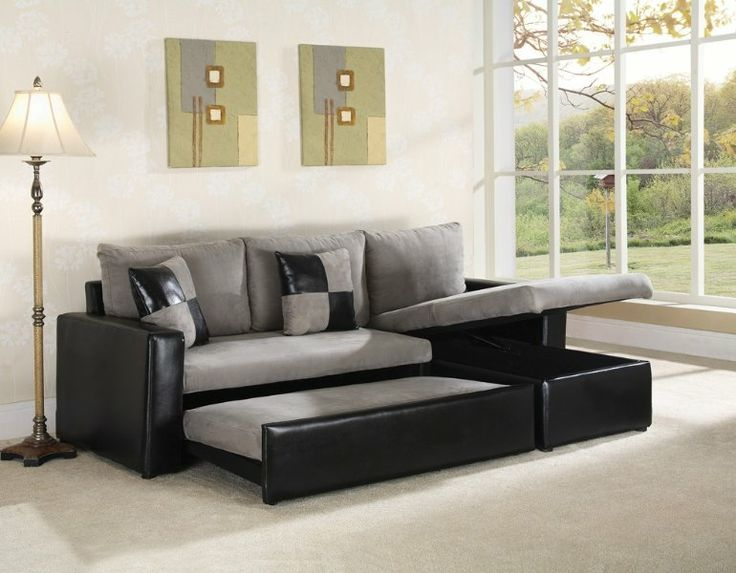 Grey microfiber with two tone leather like vinyl base. Sectional with Chaise. The Sofa pulls out into a full size sleeping area for guests and thu2026 : two tone sectional sofa - Sectionals, Sofas & Couches