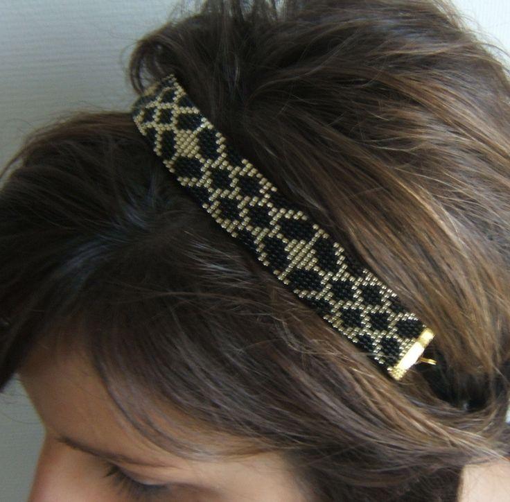 Headband tissé / bijou de tête tissé / bandeau cheveux / serre tête motif géométrique en perles de rocailles Miyuki de 2mm : Accessoires coiffure par emma-shop