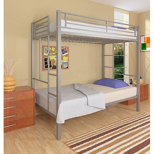 Your Zone Twin Over Twin Metal Bunk Bed Grey Metal Bunk