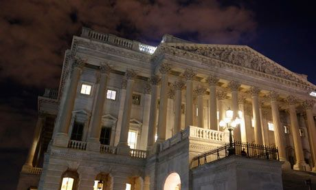 US government on verge of shutdown as House votes to delay health law  Resolution passed Sunday, makes funding government until December contingent upon one-year delay of healthcare reforms The House of Representatives remains fully lit during a rare late-night Saturday session. Photograph: Jonathan Ernst/Reuters