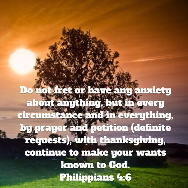 Do not fret or have any anxiety about anything, but in every circumstance and in everything, by prayer and petition (definite requests), with thanksgiving, continue to make your wants known to God. (Philippians 4:6 AMP).Have a blessed day n Jesus Christ...May God bless you abundantly...