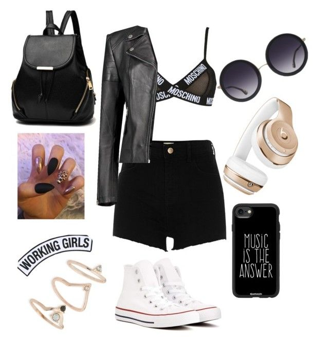 """""""Untitled #22"""" by crshomper on Polyvore featuring Moschino, River Island, Boohoo, Converse, Alice + Olivia, Beats by Dr. Dre, Casetify, Topshop and Working Girls"""