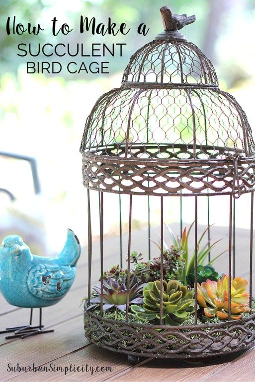 Come be inspired and see Beautiful Ways to Decorate with Succulents. Learn how to make this DIY vintage birdcage filled with faux succulents. Looks amazingly real, but no maintenance!