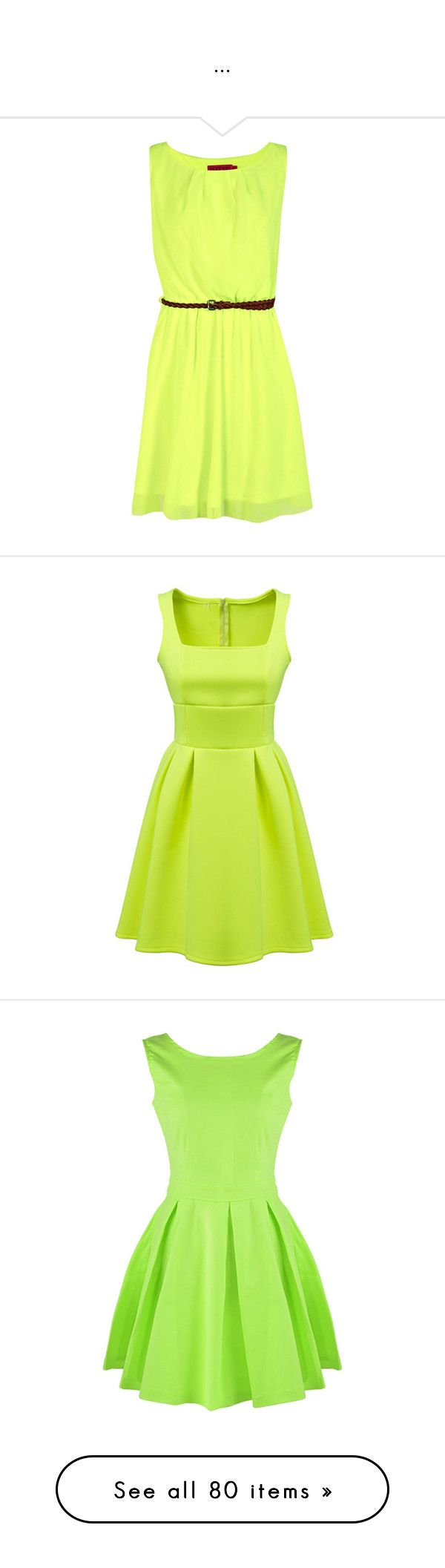 """..."" by patricia019 ❤ liked on Polyvore featuring dresses, vestidos, green dress, green skater dress, woven dress, neon skater dress, neon dress, green, sleeveless pleated dress and slim fitting dresses"