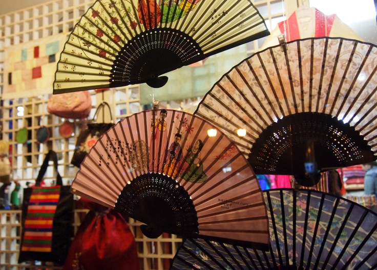 Fans in Insadong - Hand-crafted fans are displayed in a storefront in Insadong.  This neighborhood is one of the best to buy gifts for all those on your souvenir list!