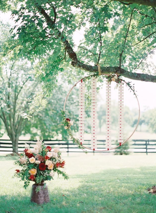 hanging hoop seating chart - photo by Elisa Bricker