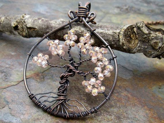 Crystallized Cherry Blossoms Tree of Life by MartaWeaverJewelry