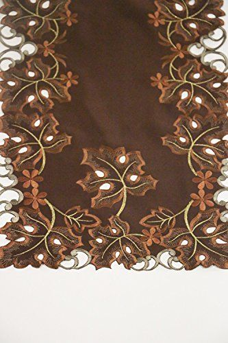 """Autumn/Fall Gift - Embroidered Leaves Table Runner Centerpiece - 36"""" - Cutwork Home Decor Linens - Holiday Parties, Entertain"""