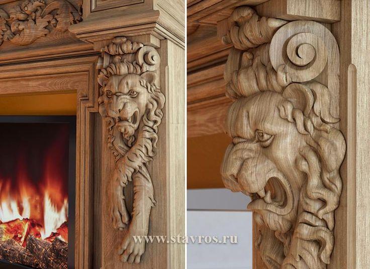 Анималистический кронштейн с мордой льва  KR-050 и его применение на портале камина