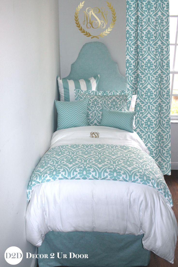 Bed sets for teenage girls blue - Canal Blue White Delight Chill Out With This Dorm Room Bedding Bliss Designer Teen Girl