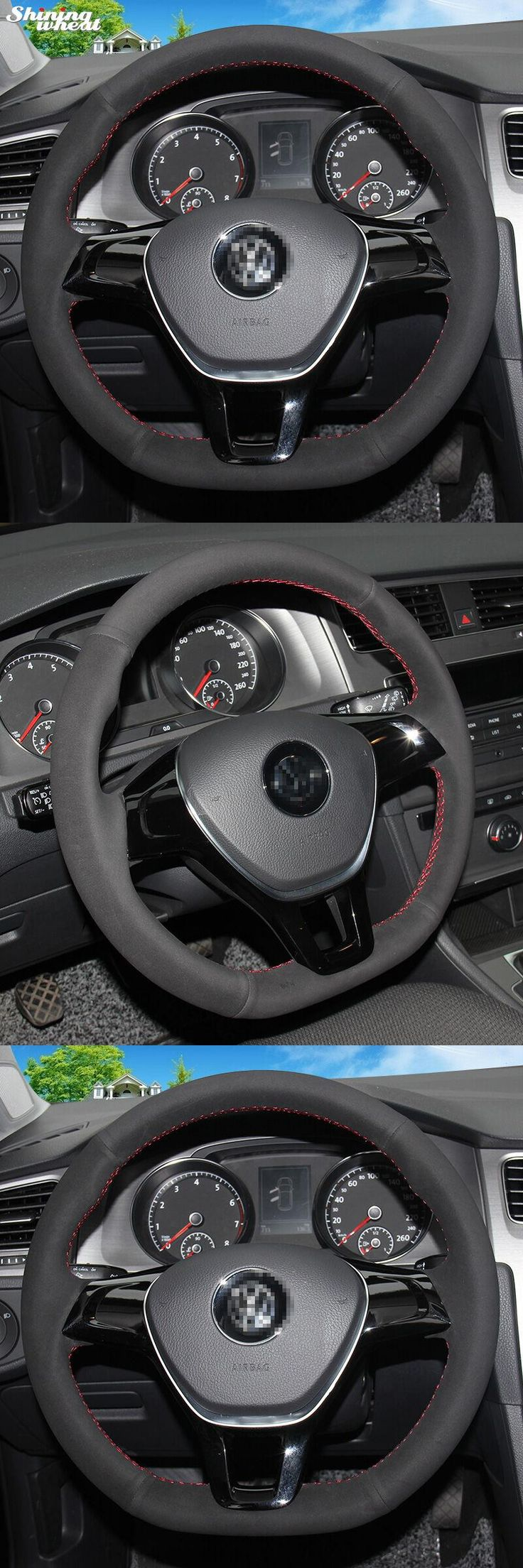 visit to buy shining wheat hand stitched black suede steering wheel cover for