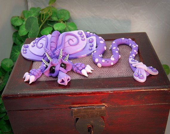 Ooak Polymer Clay Lavender Dragon Sculpture on Large by TammyPryce