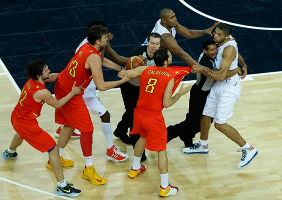 Certainly tempers get heated when things are going awry in the Olympic Games. But there's just no excuse for cheap shots. Nicolas Batum joined the list of athletes who disappoint when he opted to punch Spain's Juan Carlos Navarro in the groin area late in their basketball matchup. Now that's just taking things too far.