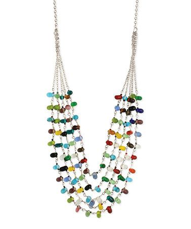 Loving this Silvertone Beaded Multi-Strand Necklace on #zulily! #zulilyfinds