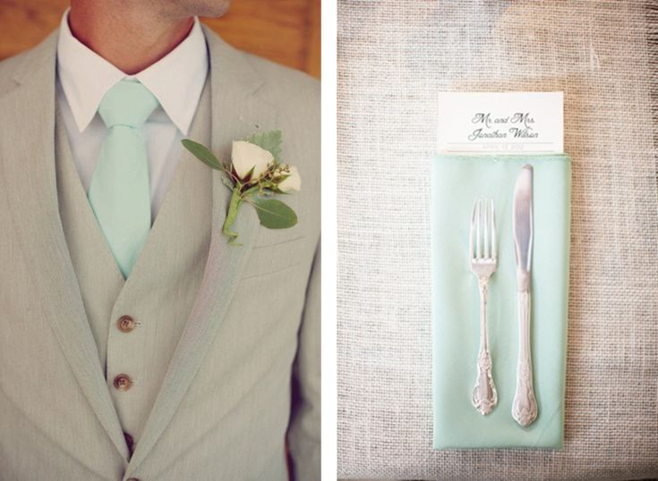 If I could get mint ties that match exactly w/ the bridesmaids dresses. Really love the light gray suit.