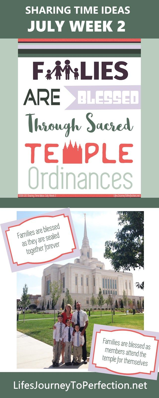 2016 LDS Sharing Time Ideas for July Week 2: Families are blessed through sacred temple ordinances.