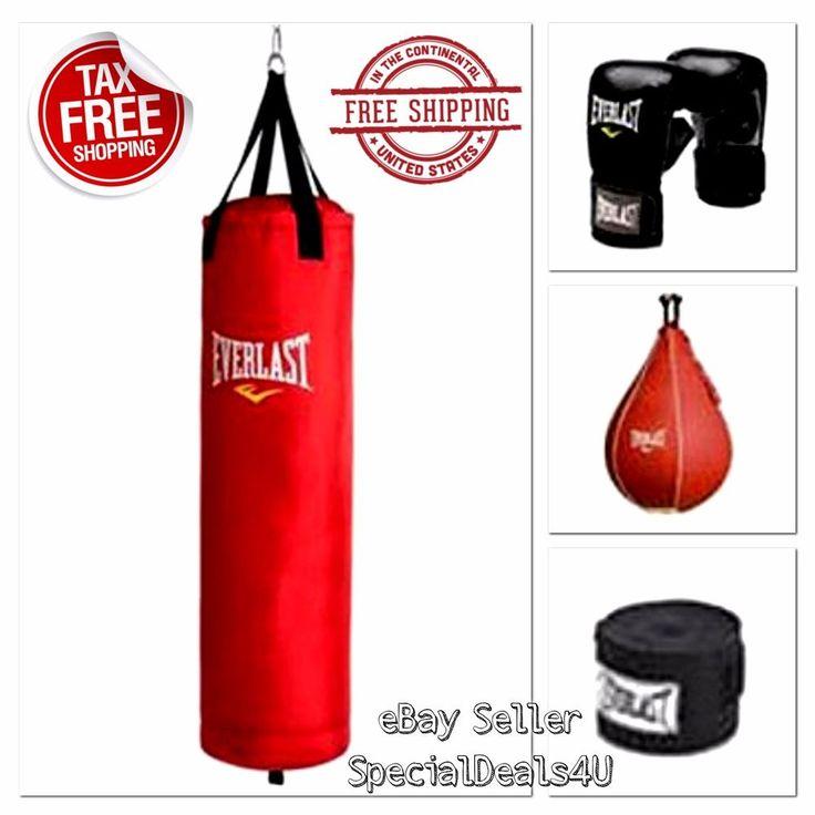 Heavy Boxing Punching Bag 70 Lb Training Gloves Speed Kicking MMA Workout Set #Everlast