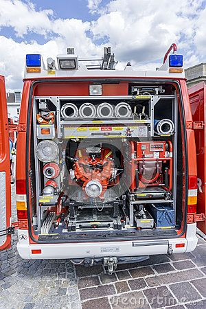 Open back of Fire engine truck on a firefighting show in Austria, Eisenstadt.