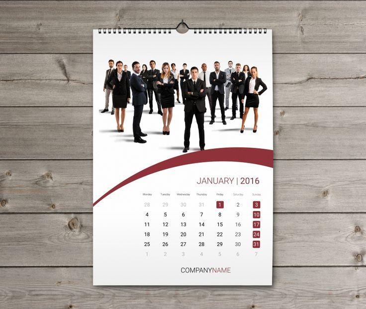 Wall Calendar 2016 design Template KW13-W15 | calendar | Pinterest