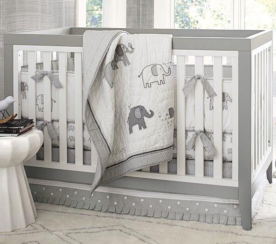 Gray Elephant Nursery Bumper Bedding Set: Crib Skirt, Crib Fitted Sheet & Bumper