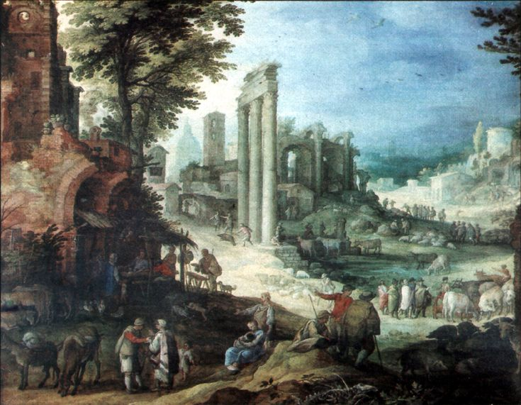 Фламандский художник Paul Bril (1554-1626).. Roemische Ruinenlandschaft