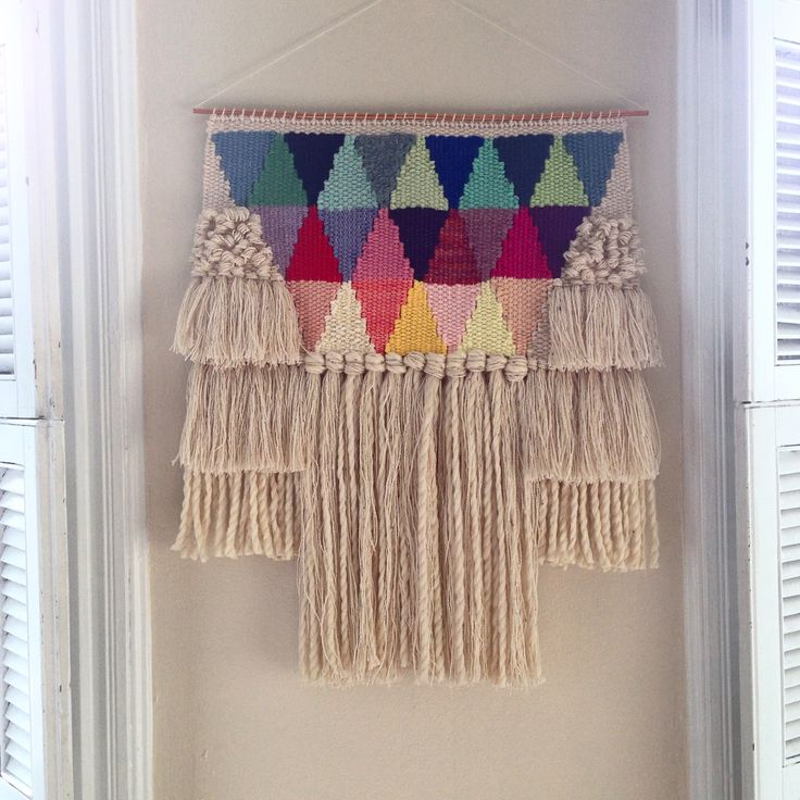 Weaving woven wall hanging tapestry by Maryanne Moodie