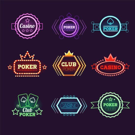 Exquisite casino neon labels vector 01…