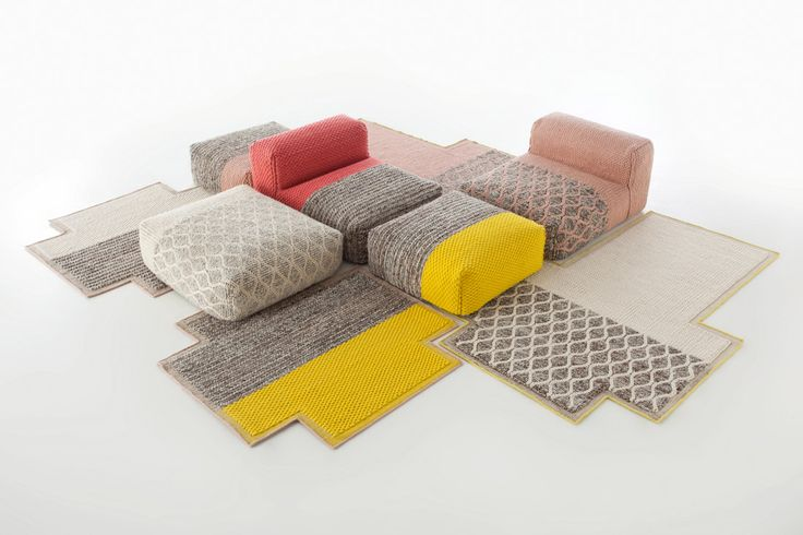 Patricia Urquiola: Mangas collection revolutionized the rug industry., the Space collection is comprised of modular components that can used interchangeably to create a multitude of different configurations. The combination of the rugs and modules will guarantee a warm and harmonious environment.