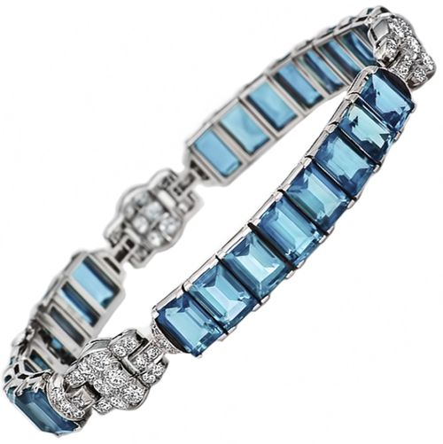 """Art Deco Oscar Heyman Bros aquamarine and diamond bracelet.     """"Dispel the blues with this glorious aquamarine and diamond bracelet. Aquamarines, a """"sea water"""" blue stone, was promised by medieval sages to bestow the virtues of insight and foresight to the gem's wearers. A stunning signed bracelet from Oscar Heyman Brothers, circa 1925, showcases 24 aquamarines, 25.00 carats, linked with diamond accents, 1.35 carats, handmade in platinum."""" Via 1stdibs."""