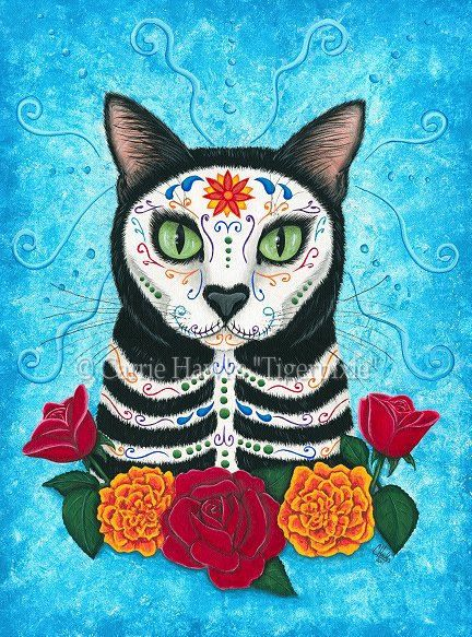 Day of the Dead Cat Art Gothic Mexican Skull Fantasy Cat Art Print 12x16. $33.00, via Etsy.